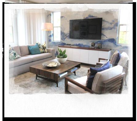Interior design of living room at Escaya community
